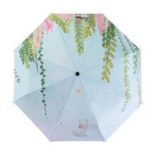 Fresh Illustration Wood Leaf Cat Lady Rainy Sun Umbrella 3 Folding 8 Rib Anti UV Abstract Art Design Women Girls Umbrellas