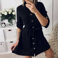 Shirt Dresses Women Turn Down Collar Short Robe Elegant Women Dress Shift Vestido De Festa WS5164R