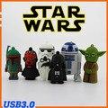 Dos desenhos animados de star wars Boba Fett Maul Darth Vader Yoda R2-D2 robô Stormtrooper pendrive USB 3.0 Flash Drive U Disk vara pen drive