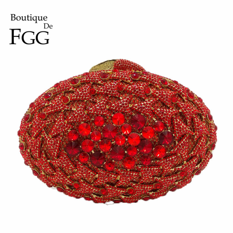 Boutique De FGG Ruby Red Crystal Diamond Women Metal Clutches Evening Bag Hollow Out Wedding Party