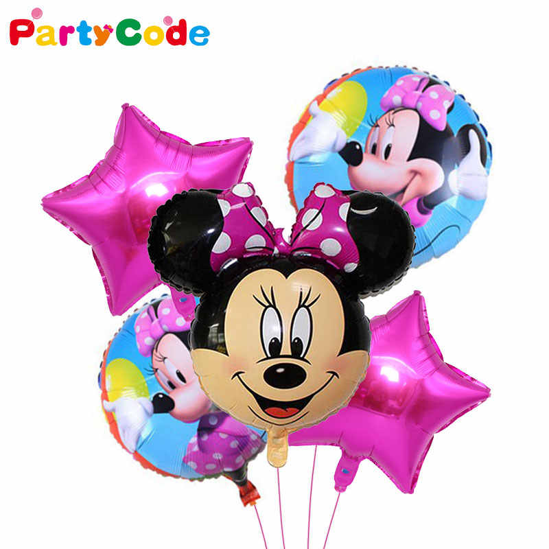 5pcs/Set Mickey Mouse Minnie Head Foil Balloon Mickey Helium Ballon Birthday Party decoration Kids Baby Shower Girl Party balony