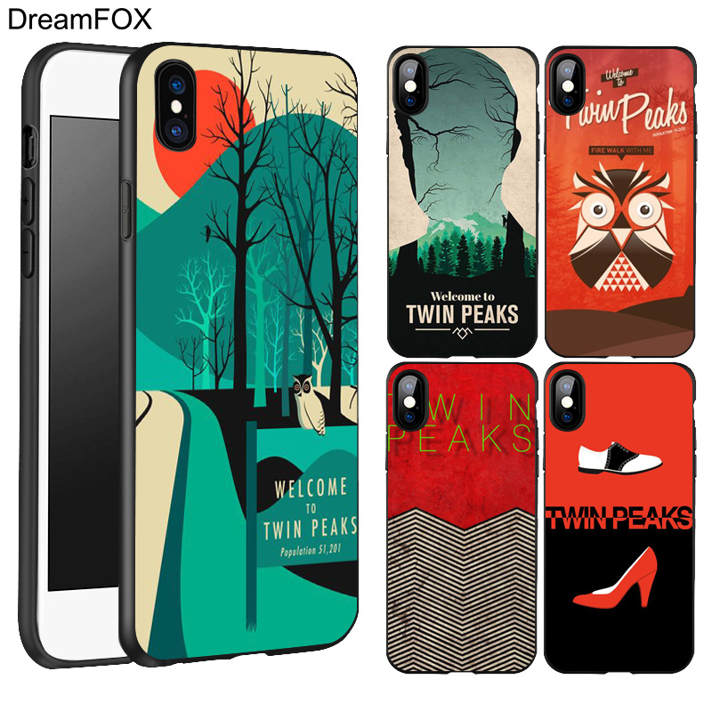 DREAMFOX L406 Welcome To Twin Peaks Black Soft TPU Silicone Case Cover For Apple iPhone X 8 7 6 6S Plus 5 5S 5G SE