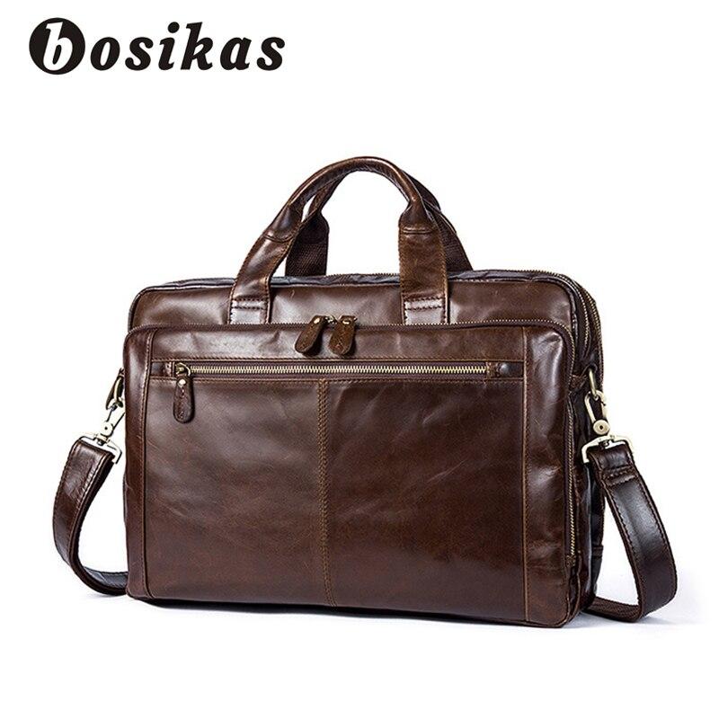 BOSIKAS Men Briefcase Fashion Handbag Men's Bag for Document Leather Zipper Shoulder Laptop Bag Genuine Leather Man Briefcase