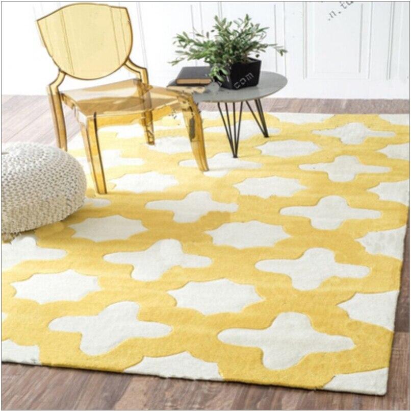 옐로우 라운드 카펫 alfombras 현대 수제 카펫 거실 침실 패션 크리 에이 티브 커피 테이블 소파 tapete-에서카펫부터 홈 & 가든 의  그룹 1