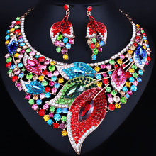 African beads Big leaf Full Rhinestones Necklace and Earrings set Color Crystal Bridal Jewelry sets