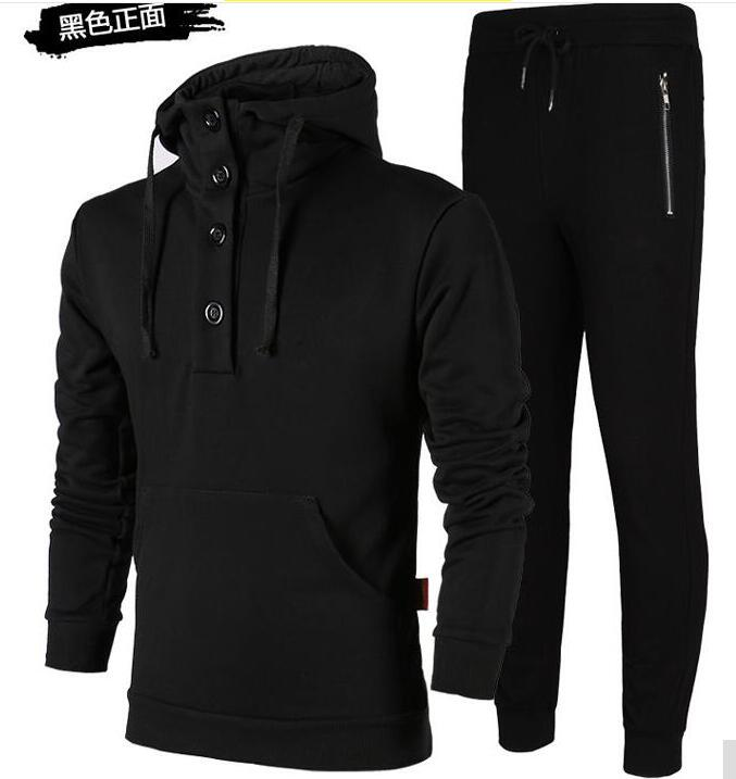 2018 New Running 2 pieces Set Quick-drying Long Sleeve Hooded Cotton Sport Set for Men Size L to 4XL Black Factory Dropship