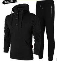 2018 New Running 2 Pieces Set Quick Drying Long Sleeve Hooded Cotton Sport Set For Men