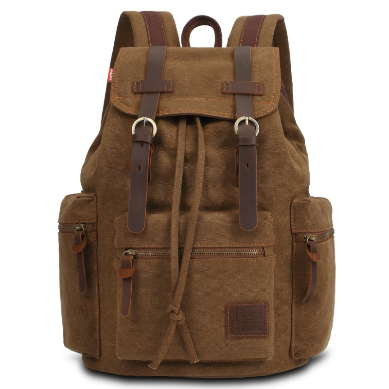 KAUKKO Men Vintage Drawstring Backpack Leisure Travel Canvas School Bags Male Laptop Bag Student Boys Mochila Rucksack Bookbag men canvas 15 inch notebook backpack multi function travel daypack computer laptop bag male vintage school bags retro knapsack