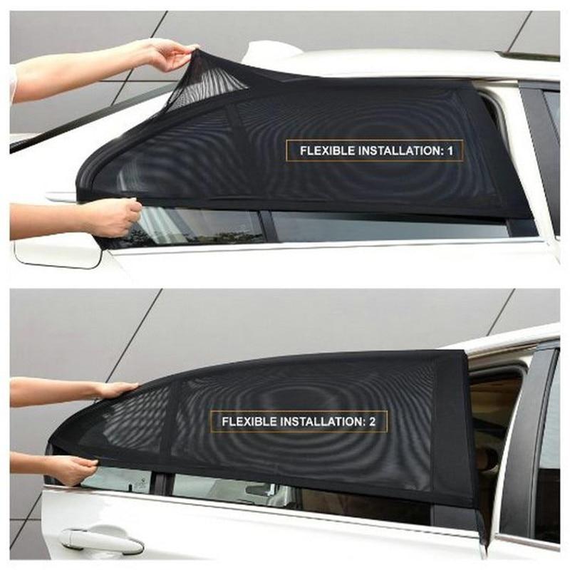 Car Sun Visor Rear Side Window Sun Shade Mesh 2Pcs Black Auto Sunshade Curtain Fabric Car Mosquito Net Shield UV Protector