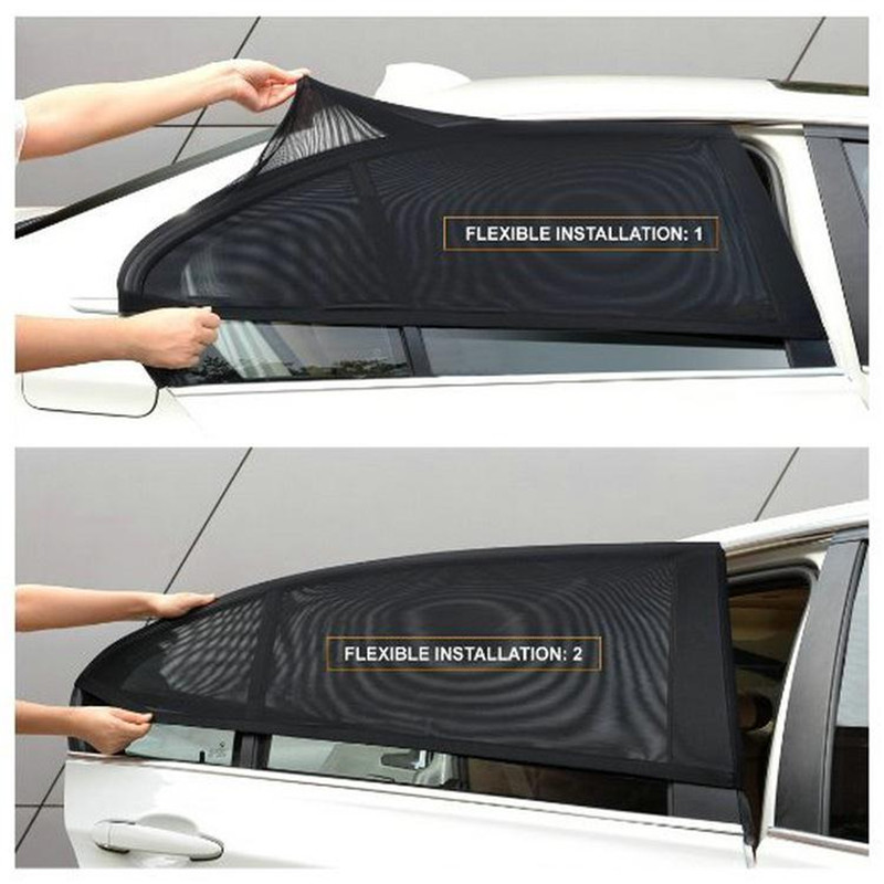 Car Sun Visor Rear Side Window Sun Shade Mesh 2Pcs Black Auto Sunshade Curtain Fabric Car Mosquito Net Shield UV Protector