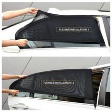 Osłona przeciwsłoneczna do samochodu tylna boczna szyba przeciwsłoneczna siatka zacieniająca 2 szt Czarna Auto osłona przeciwsłoneczna tkanina samochodowa moskitiera osłona UV Protector tanie tanio Jednodrzwiowe Car Window Mesh Camping Podróży OUTDOOR Dorosłych Uniwersalny Owadobójczy traktowane Składane Czworoboczny