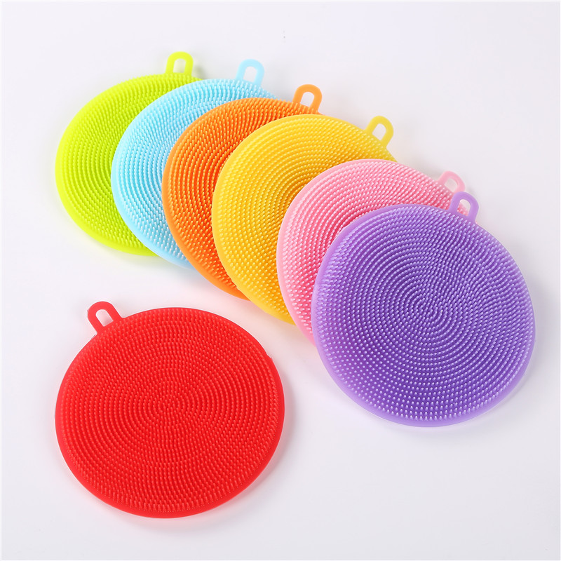 7 Colors Silicone Bowl Pot Pan Cleaning Brush Bowl Dish Cleaning Scourers Sponge Brushes Household Magic Kitchen Pot Wash Tools