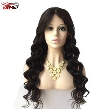 DLME natural color deep wave long wigs swiss lace front full brazilian hair wig black women synthetic no tangle fast shipping
