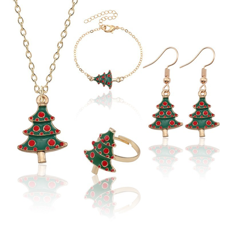 4 Piece Suit Christmas Tree Necklaces Earrings Rings Bracelets For Women Gifts Evergreen Christmas Jewellery Sets Xmas Gifts