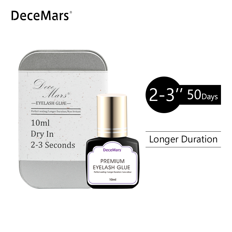 DeceMars 10ml Eyelash Extension Glue Dry in 2-3 Second Eyelash Extension Black Adhesive Glue for Eyelash Extensions False lash 2 bottles lot free shipping black lady glue eyelash extensions fasting dry low irritation fume adhesive with sealed bag 10ml