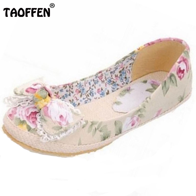 Big Size 34-43 Flower Print Canvas Flats Fashion Sweet Bow Shoes For Women Casual Dress Spring Summer Flats Shoes plus size 34 41 black khaki lace bow flats shoes for womens ds219 fashion round toe bowtie sweet spring summer fall flats shoes