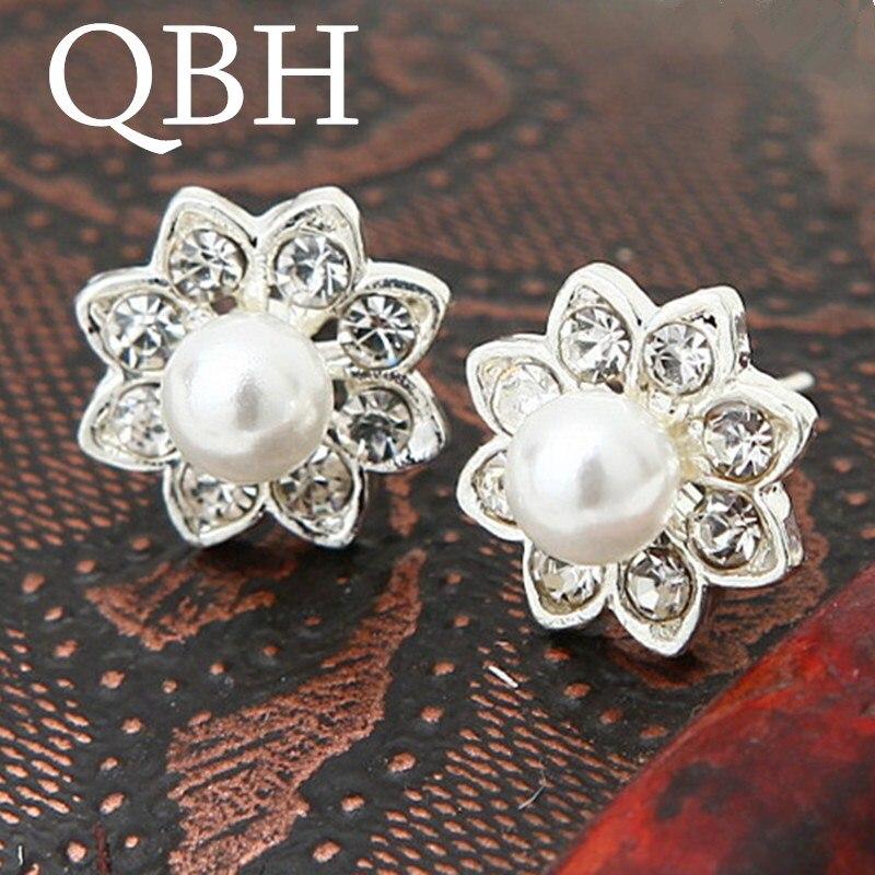 EK555 New Fashion Tiny Crystal Flower Simulated Pearl Stud Earrings for Women Wedding Ear Jewelry Mujer Brincos Dainty bijoux