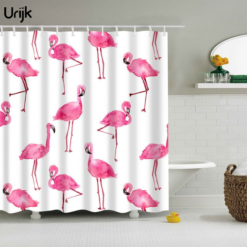 Urijk 1PC Flamingo Animal Print Shower Curtain Washable Bathroom Curtain Bath Decor High Quality Polyester Fabric Textile