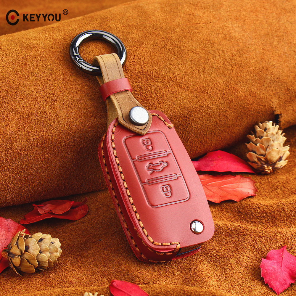KEYYOU Leather Flip Car Key Case for VW Volkswagen Polo Golf Passat Beetle Caddy T5 Eos Tiguan Seat For Skoda Remote Fob Cover