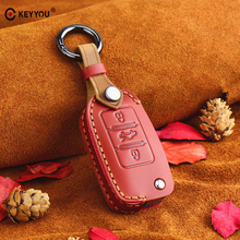KEYYOU Leather Flip Car Key Case for VW Volkswagen Polo Golf Passat Beetle Caddy T5 Eos Tiguan Seat For Skoda Remote Fob Cover стоимость