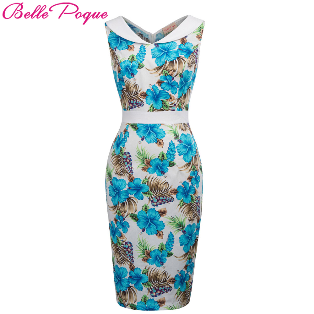 Womens Floral Retro Party Pencil Dresses 2018 Summer Women Sexy Sheath Sleeveless Pin up Bodycon Casual Fitted Work Office Dress