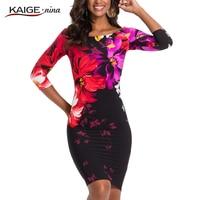 Kaige Nina New Women S Fashion Chinese Style Print Slash Neck Knee Autumn Dress With Three