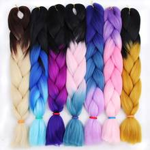 AISI BEAUTY 100g pack 24inch Kanekalon Jumbo Braids Hair Ombre Two Tone Colored Synthetic Hair for Dolls Crochet Hair cheap 1strands pack