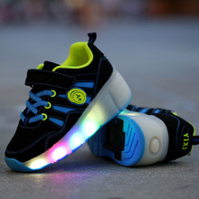 Wheels LED Light Up Shoes USB Flashing Sneakers for Kids Boys Girls Scrub Leather Upper TPR Soles spring autumn Casual Children