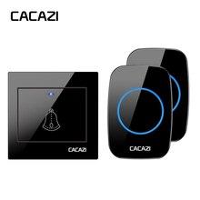 CACAZI Беспроводной дверной звонок Водонепроницаемый 300 м удаленного США ЕС Великобритания Plug светодио дный свет дома беспроводной дверной звонок 36 перезвон 1 пуговица 1 2 приемника