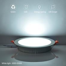 Panel LED Light 7w 9w 12w 18w 24w 30w AC165-265V Flat Panel Lighting Lamp Downlight Recessed Round Ceiling Light 220V Down Light