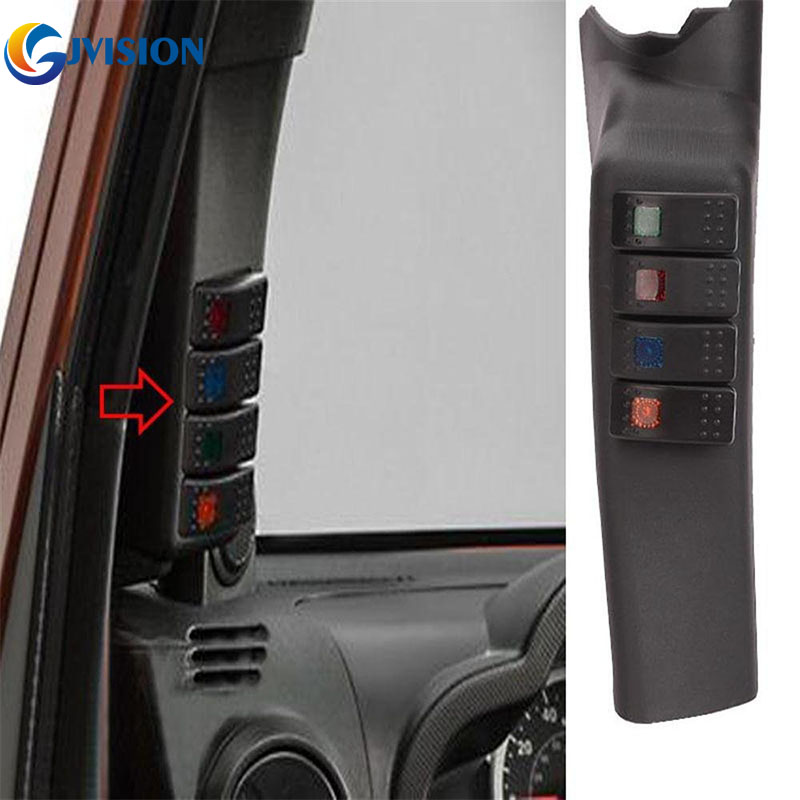 For Jeep Wrangler Accessories Switch Panel Pod With 4 Rocker Switches Combo for Jeep Wrangler Left Side A-Pillar left hand a pillar swith panel pod kit with 4 led switch for jeep wrangler 2007 2015