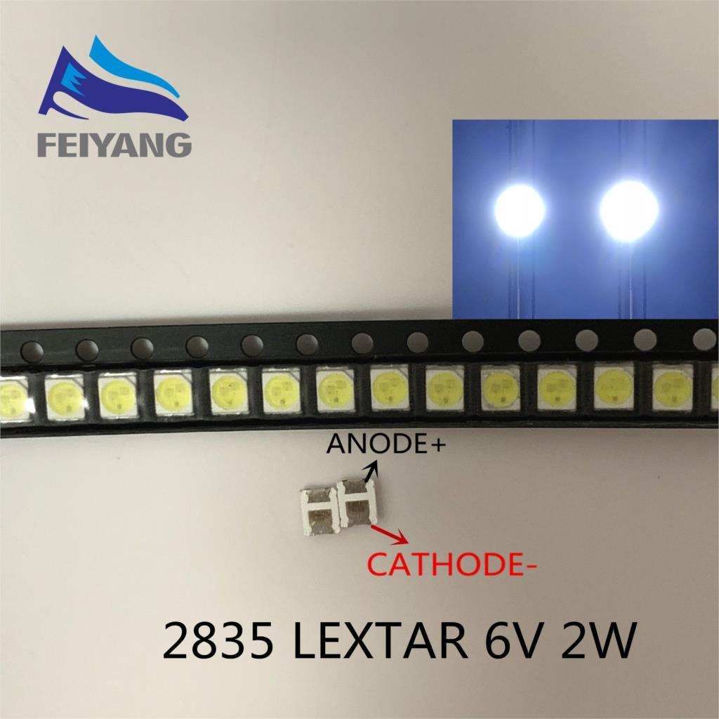 50 шт. оригинальный LEXTAR 2835 3528 1210 6 в 2 Вт SMD светодиодный для ремонта ТВ ПОДСВЕТКА холодный белый ЖК-дисплей светодиодный