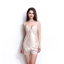 Solid Satin Chiffon Women Pajamas Sets