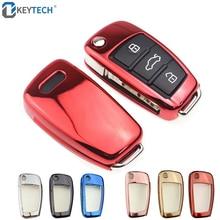OkeyTech TPU Car Key Case Auto Protection Cover For Audi C6 A7 A8 R8 A1 A3 A4 A5 Q7 A6 C5 Holder Shell Car-Styling