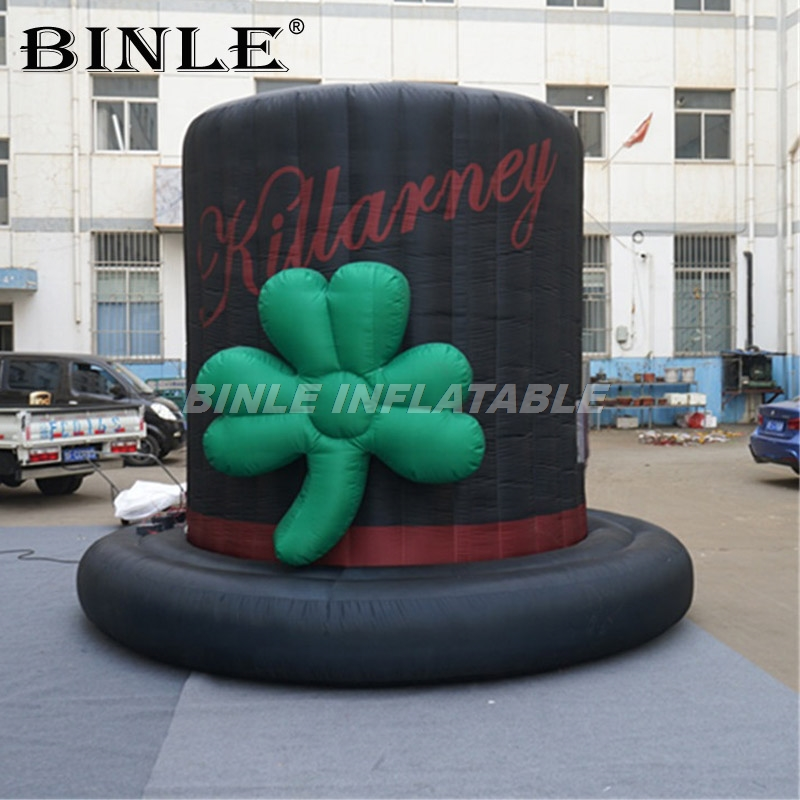 Canival parade outdoor decoration giant black inflatable hat replica model inflatable magician hat for advertising