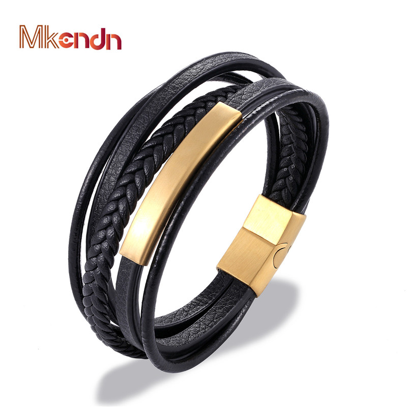 MKENDN Wholesale Stainless Steel Genuine Multilayer Leather Magnet Bracelet Men Black/Brown Color Charm Accessories Jewelry