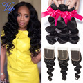 VIP Beauty Hair Malaysian Loose Wave Lace Closure With Hair Bundles 7A Unprocessed Malaysian Virgin Hair Loose Wave With Closure