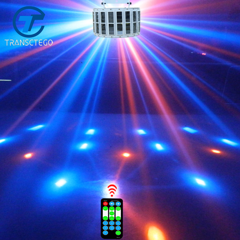 TRANSCTEGO Led Stage Lamp Laser Light DMX 24W 14 Mod 8 Warna Disco Lights DJ Bar Lamp Sound Control Music Stage Lamps