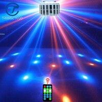 Venta TRANSCTEGO Led lámpara de escenario luz láser DMX 24 W 14 modos 8 colores luces de discoteca DJ Bar lámpara de Control de sonido música etapa lámparas