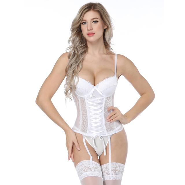 011c8f01697 Women Sexy Lingerie Exotic Overbust White Lace Up with Bandage See Through  Nighty Nightwear Corsets Bustiers