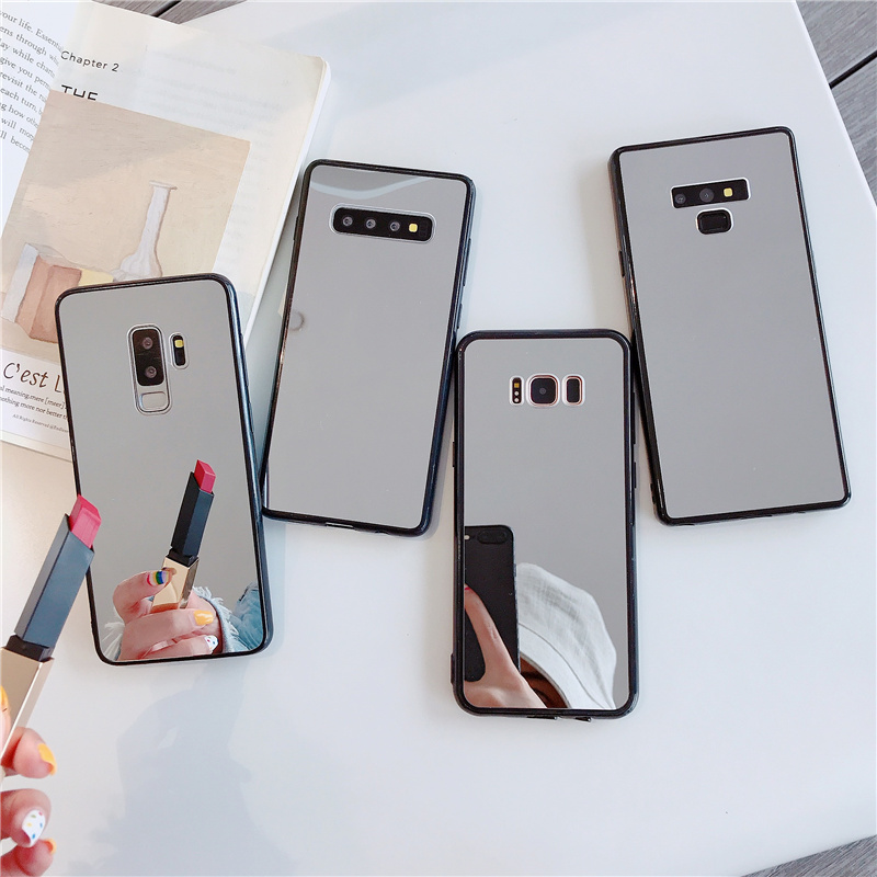 Hot makeup mirror shell Glitter soft phone case for samsung Galaxy S7 edge J8 A50 A70 A830 A30 A10 M10 S8 Plus S9 Note 9 8 S10 E image