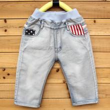 DIIMUU Summer Fashion Boys Jeans Kids Clothing Teenage Boy Denim Capris Mid Elastic Waist Casual Pockets Patchwork Trousers