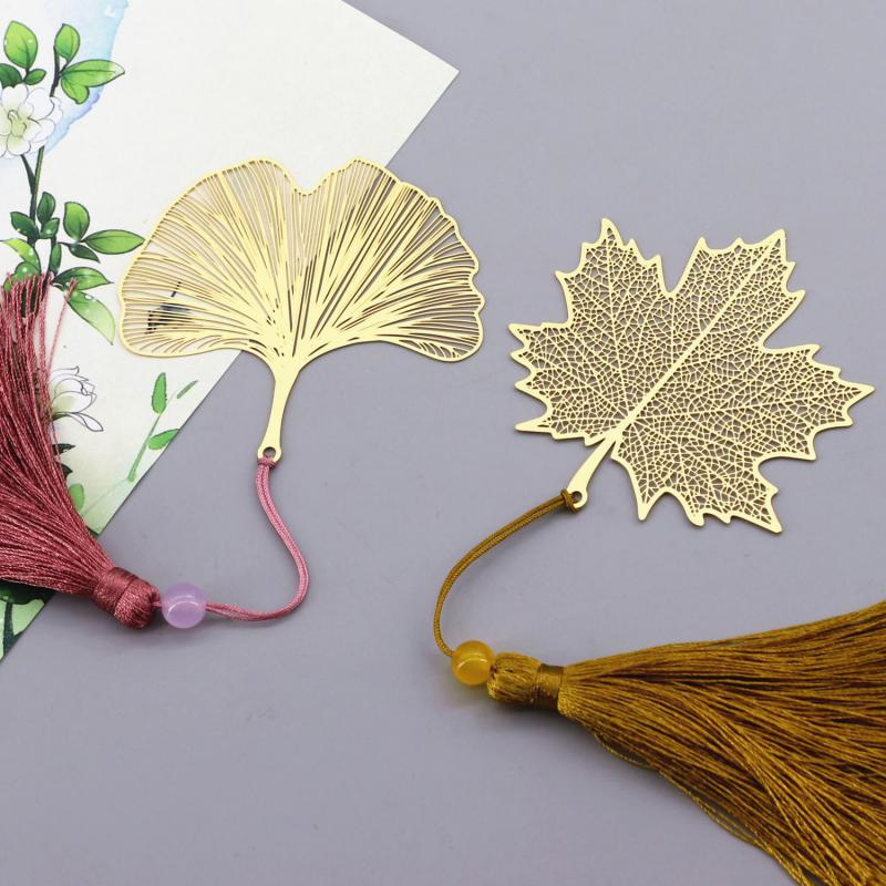 Fine Vein Tasseled Vein And Leaf Bookmarks Literature Art Students Use High-value Brass Bookmarks Sycamore Leaf Gifts