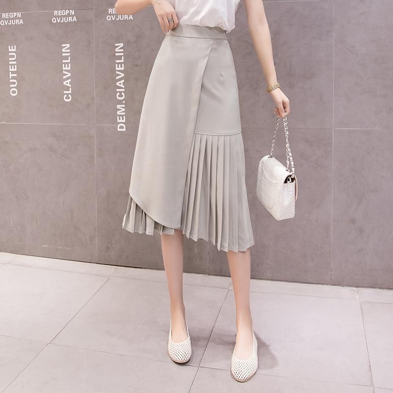 2019 Summer Irregular Midi Skirts Women Elegant High Waist Pachwork Pleated Skirt A-Line Jupe Femme Slim Skirt Japanese Style