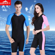 SBART Anti-UV Lycra Short Sleeve Triathlon Wetsuit Men Women Surfing Wet Suit for Swimming Sucba Diving Skin Swimsuit Equipment(China)