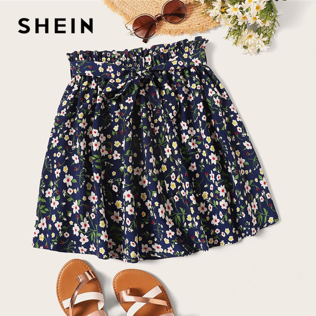 SHEIN Plus Size Navy Ditsy Floral Print Paperbag Waist Belted Skirt 2019 Women Summer Boho A Line Flared Pleated Mini Skirts