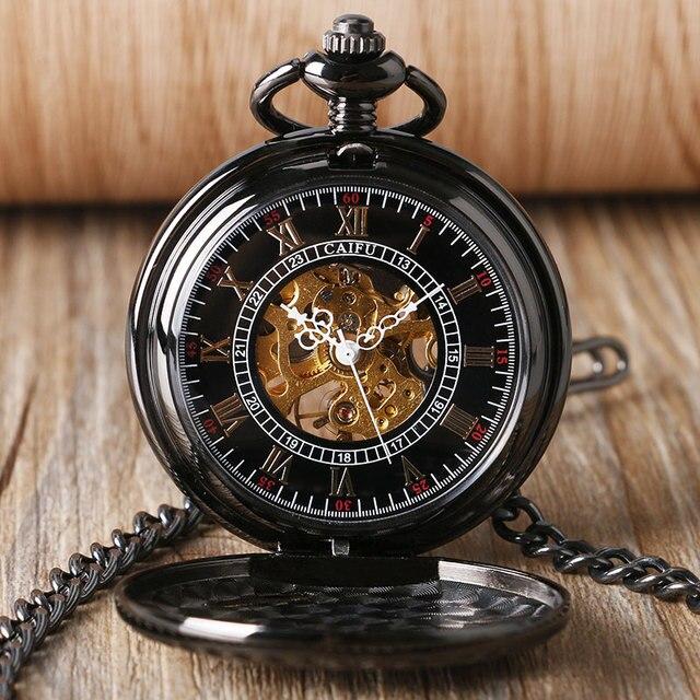 Skeleton Railway Pocket Watch Men Running Steam Train Pocket Watch Women Locomotive Mechanical Hand Winding Watches Xmas