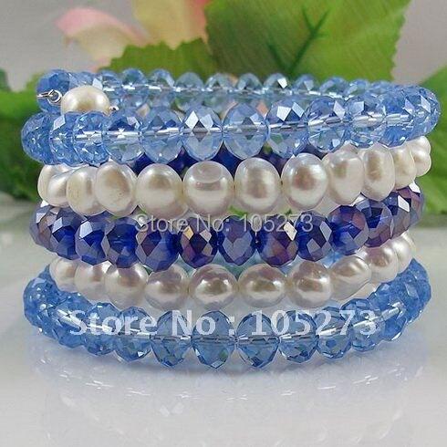 Мода жемчужный браслет AA 7-8 мм белый цвет подлинный пресноводный жемчуг барокко формирователь и синий кристалл 5 рядов A2590