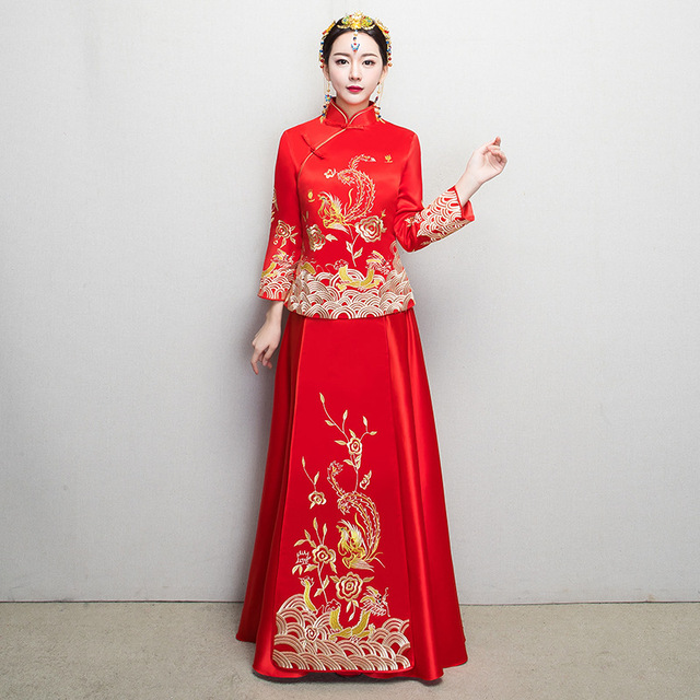 red traditional wedding gown phoenix 2017 new chinese bride dress