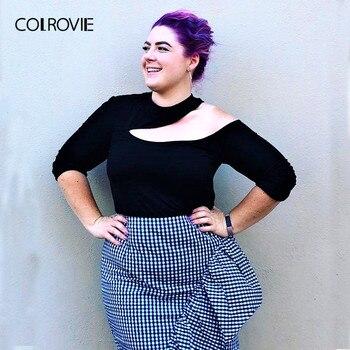 542a55a32af12 COLROVIE плюс размер вырезанная Асимметричная Шея однотонная черная  футболка женская 2018 с длинным рукавом Футболка сексуальные